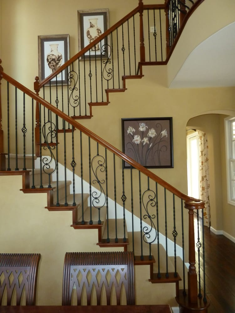 Stair Parts Wood And Wrought Iron Balusters Newels