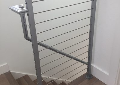 Contemporay powder coated silver railing with cables -c