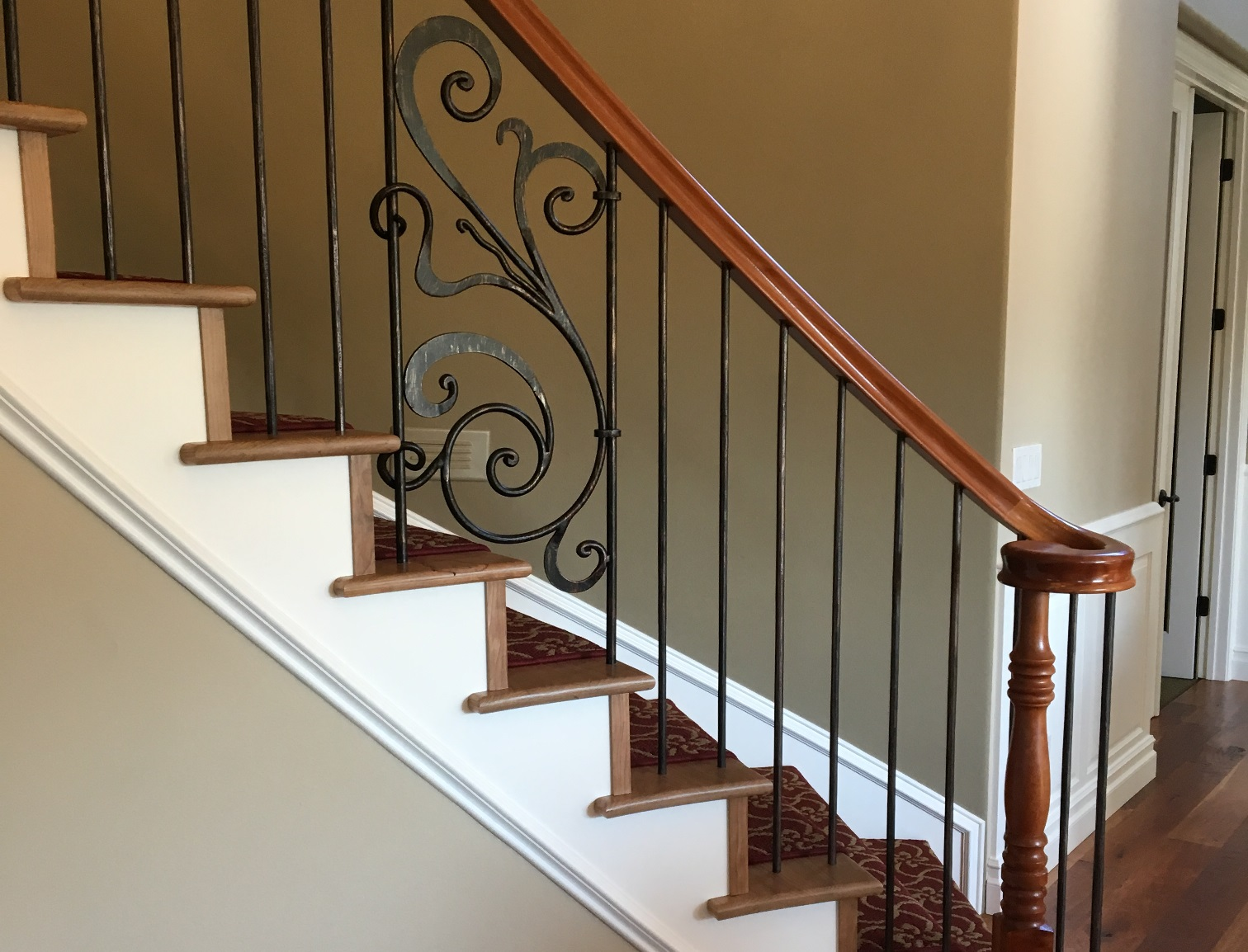 Beautiful Elegant Cherry Railing With Oil Rubbed Bronze Metal And Rebecca  Panel
