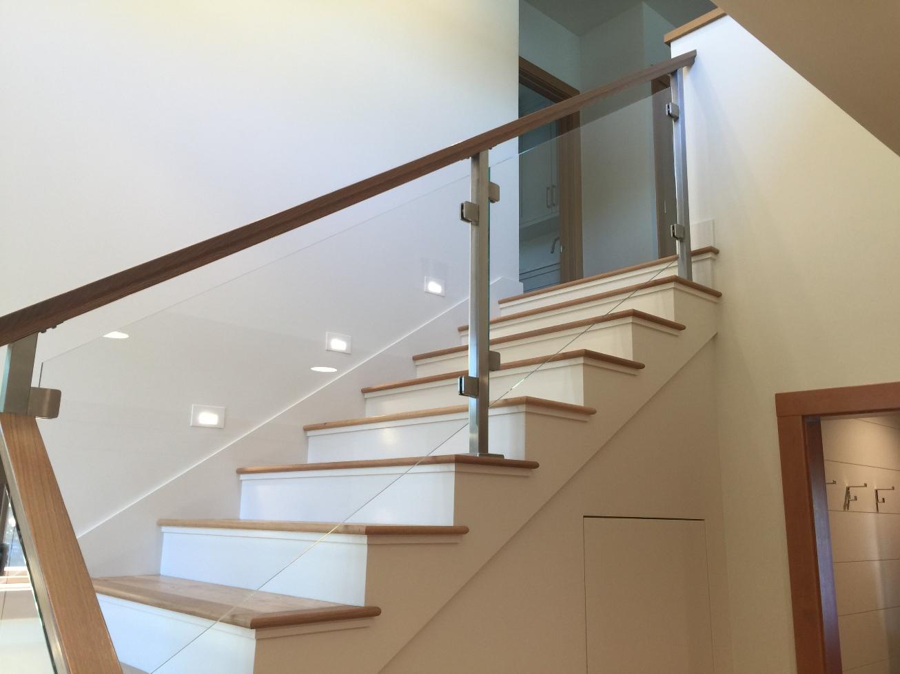 Beautiful Glass Railing With Riffsawn White Oak Handrail
