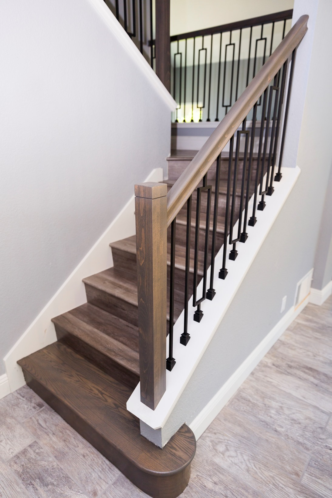 Beech modern railing stained grey, large rectangle ash ...