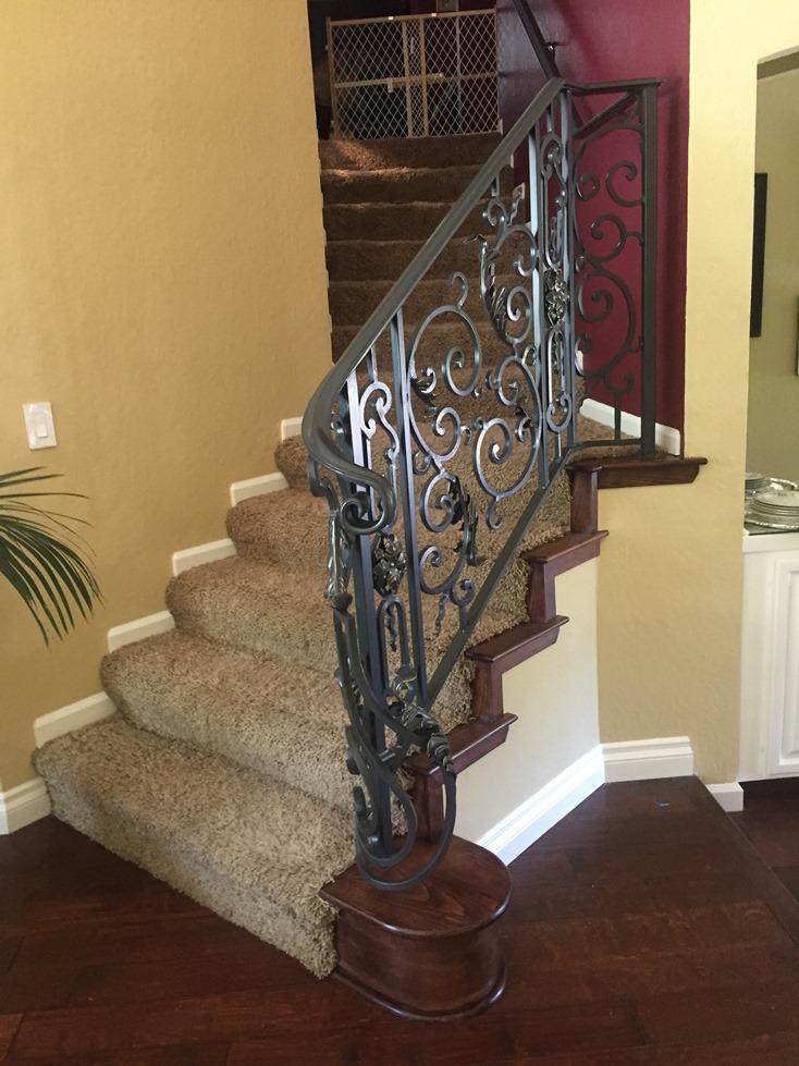 Custom Iron railing with iron panels -c